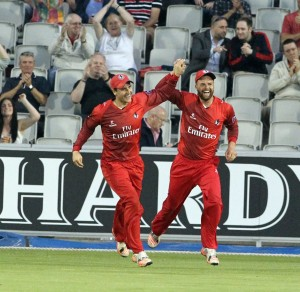 LANCASHIRE COUNTY CRICKET CLUB Emirates Old Trafford Lancashire Lightning v Derbyshire  Nat West t20 Blast 12/06/15 Arron Lilley celebrates his second of two catches on the boundary