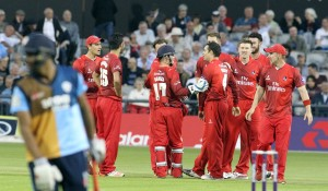 LANCASHIRE COUNTY CRICKET CLUB Emirates Old Trafford Lancashire Lightning v Derbyshire  Nat West  t20 Blast 12/06/15 Stephen Parry gets a wicket