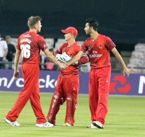LANCASHIRE COUNTY CRICKET CLUB Emirates Old Trafford Lancashire Lightning v Derbyshire  Nat West t20 Blast 12/06/15 Saqib Mahmood  congratulated on wicket