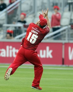 LANCASHIRE COUNTY CRICKET CLUB Emirates Old Trafford Lancashire Lightning v Worcestershire Rapids Nat West t20 Blast 18/06/15 Steven Croft takes the catch to dismiss Whiteley