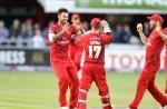 LANCASHIRE COUNTY CRICKET CLUB Emirates Old Trafford Lancashire Lightning v Nottinghamshire Outlaws Nat West t20 Blast 15/07/15 Jordan Clark celebrates