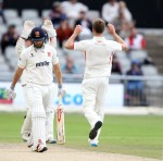 LANCASHIRE COUNTY CRICKET CLUB Emirates Old Trafford Lancashire v Essex LV= County Championship Division Two, 08/07/15 Toby Lester takes the wicket of Mickleburgh