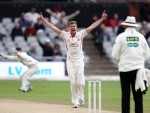 LANCASHIRE COUNTY CRICKET CLUB Emirates Old Trafford Lancashire v Essex LV= County Championship Division Two, 08/07/15 Toby Lester appeals