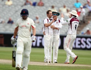 LANCASHIRE COUNTY CRICKET CLUB Emirates Old Trafford Lancs v Northants LV= County Championship Division Two, 01/07/15 steven croft bowled
