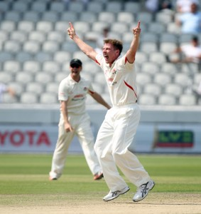 LANCASHIRE COUNTY CRICKET CLUB Emirates Old Trafford Lancs v Northants LV= County Championship Division Two, 01/07/15 James Faulkner gets Keogh LBW