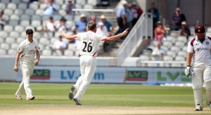 LANCASHIRE COUNTY CRICKET CLUB Emirates Old Trafford Lancs v Northants LV= County Championship Division Two, 01/07/15 James Faulkner gets Levi LBW