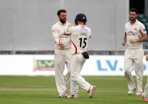 LANCASHIRE COUNTY CRICKET CLUB Emirates Old Trafford Lancs v Northants LV= County Championship Division Two, 01/07/15 Arron Lilley dismisses Duckett