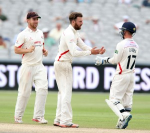 LANCASHIRE COUNTY CRICKET CLUB Emirates Old Trafford Lancs v Northants LV= County Championship Division Two, 01/07/15 Arron Lilley has Crook LBW