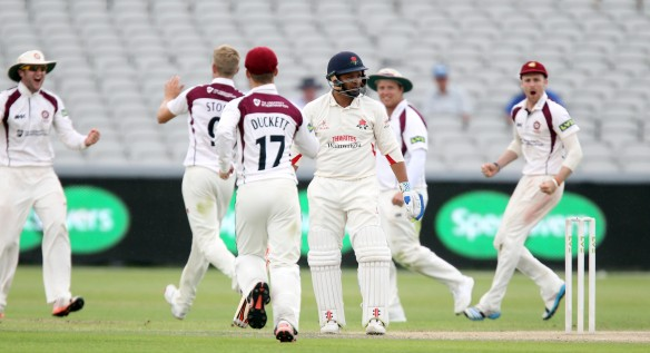 LANCASHIRE COUNTY CRICKET CLUB Emirates Old Trafford Lancs v Northants LV= County Championship Division Two, 02/07/15 Ashwell Prince c †Rossington b Stone