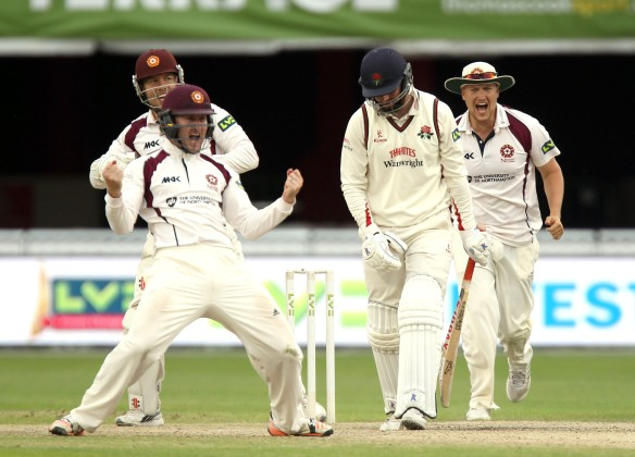 LANCASHIRE COUNTY CRICKET CLUB Emirates Old Trafford Lancs v Northants LV= County Championship Division Two, 02/07/15 Arron Lilley lbw b White