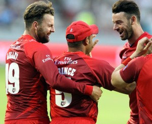 LANCASHIRE COUNTY CRICKET CLUB Emirates Old Trafford Lancashire Lightning v Yorkshire Vikings Nat West t20 Blast 03/07/15 Ashwell Prince catch