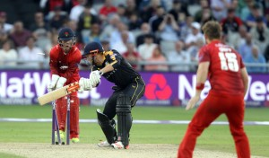 LANCASHIRE COUNTY CRICKET CLUB Emirates Old Trafford Lancashire Lightning v Yorkshire Vikings Nat West t20 Blast 03/07/15 Steven Croft Bowls Bairstowe