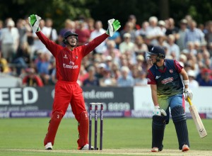KENT COUNTY CRICKET CLUB t20 blast Quarter final Kent v Lancashire 15/08/15 jOS bUTLER APPEALS AS nORTHEAST IS lbw