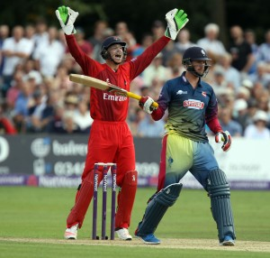 KENT COUNTY CRICKET CLUB t20 blast Quarter final Kent v Lancashire 15/08/15 Jos Buttler appeals as Blake is LBW