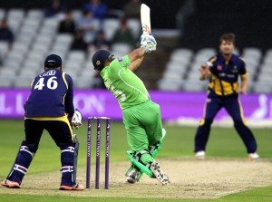 LANCASHIRE COUNTY CRICKET CLUB Emirates Old Trafford Royal London One-Day Cup Lancashire v Glamorgan Ashwell Prince hitting out 19/08/15