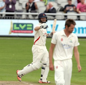 Karl Brown hits century 100 LANCASHIRE COUNTY CRICKET CLUB Emirates Old Trafford LV= County Championship Lancashire v Glamorgan 22/08/15