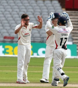 Alex davies stumps Wagg off Simon Kerrigan LANCASHIRE COUNTY CRICKET CLUB Emirates Old Trafford LV= County Championship Lancashire v Glamorgan 24/08/15