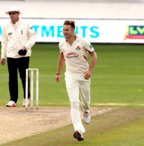 Kyle Jarvis takes the wicket of Bragg c Brown LANCASHIRE COUNTY CRICKET CLUB Emirates Old Trafford LV= County Championship Lancashire v Glamorgan 24/08/15