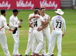 Kyle Jarvis takes the wicket of Bragg c Karl  Brown LANCASHIRE COUNTY CRICKET CLUB Emirates Old Trafford LV= County Championship Lancashire v Glamorgan 24/08/15
