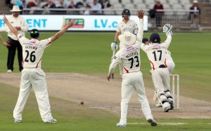 Rudolph is trapped LBW by Steven Croft LANCASHIRE COUNTY CRICKET CLUB Emirates Old Trafford LV= County Championship Lancashire v Glamorgan 24/08/15