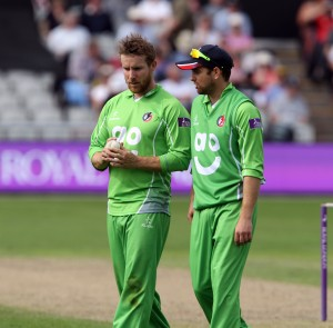 LANCASHIRE COUNTY CRICKET CLUB Emirates Old Trafford Royal London One-Day Cup Lancashire v Warwickshire 02/08/15 Steven Croft and Stephen Parry