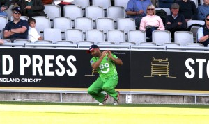LANCASHIRE COUNTY CRICKET CLUB Emirates Old Trafford Royal London One-Day Cup Lancashire v Warwickshire 02/08/15 Ashwell Prince takes a catch on the boundary