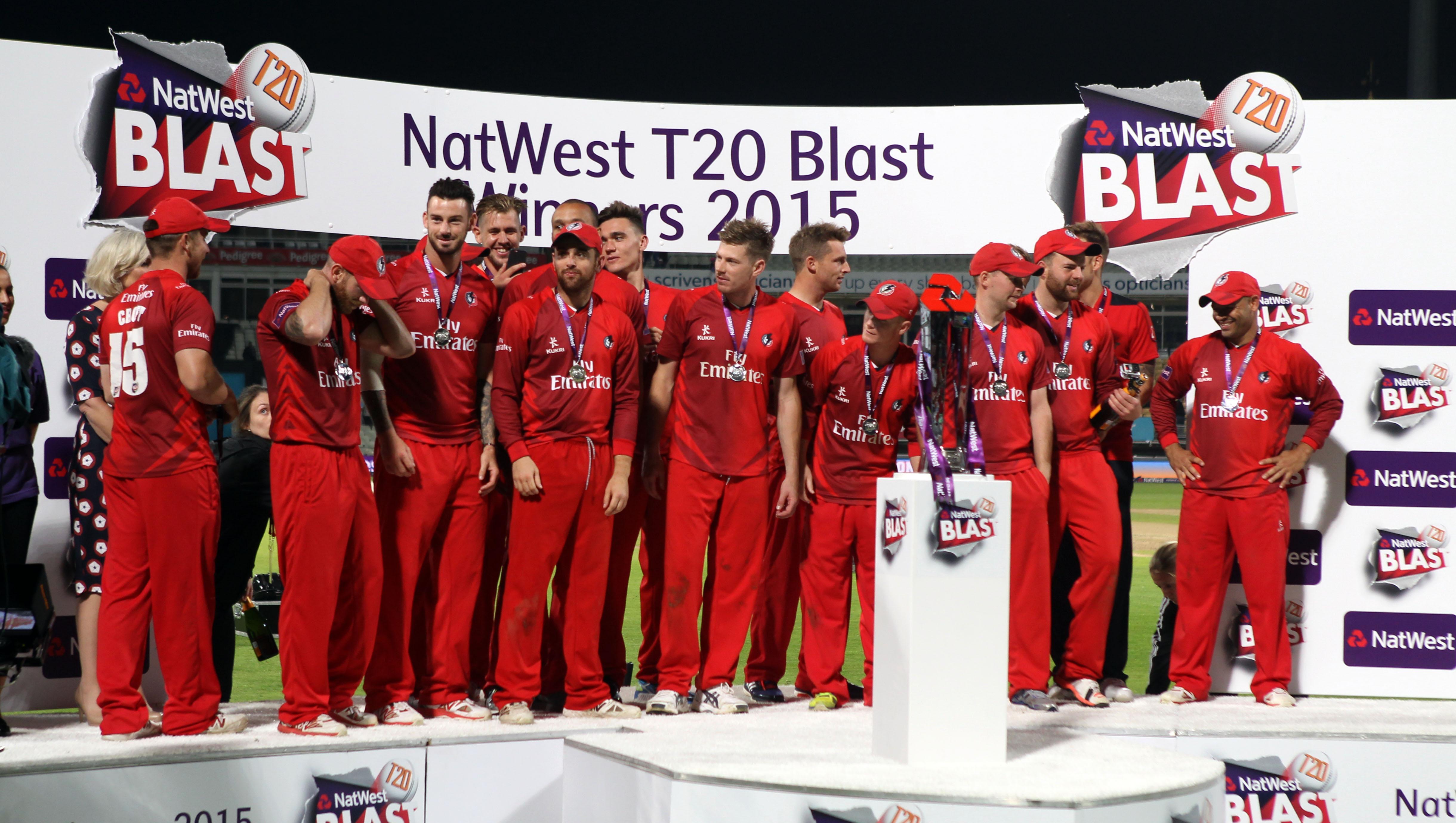 Winners Nat West t20 Blast Finals day Edgbaston LANCASHIRE COUNTY CRICKET CLUB V  Northants 29/08/15
