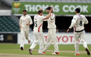 James Anderson is congratulated on his catch to dismiss Ansari on 99 b croft LANCASHIRE COUNTY CRICKET CLUB Emirates Old Trafford LV= County Championship Lancashire v Surrey 14/09/15