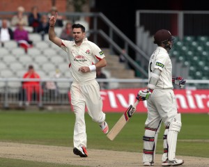 james Anderson dismisses Davies LANCASHIRE COUNTY CRICKET CLUB Emirates Old Trafford LV= County Championship Lancashire v Surrey 15/09/15