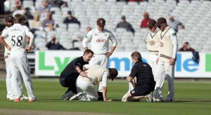 Ansari gets treatment LANCASHIRE COUNTY CRICKET CLUB Emirates Old Trafford LV= County Championship Lancashire v Surrey 15/09/15