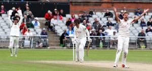 Tom Bailey takes the wicket of Foakes LBW LANCASHIRE COUNTY CRICKET CLUB Emirates Old Trafford LV= County Championship Lancashire v Surrey 16/09/15