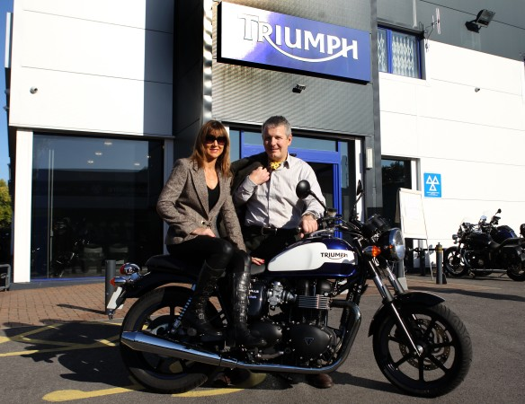 The Distinguished Gentlemens Ride Prostate Cancer UK Youles Triumph Manchester Philip and Louise Youle