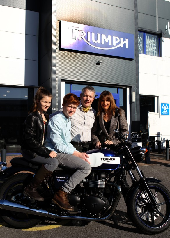 The Distinguished Gentlemens Ride Prostate Cancer UK Youles Triumph Manchester Philip and Louise with Jasmine and Joe Youle
